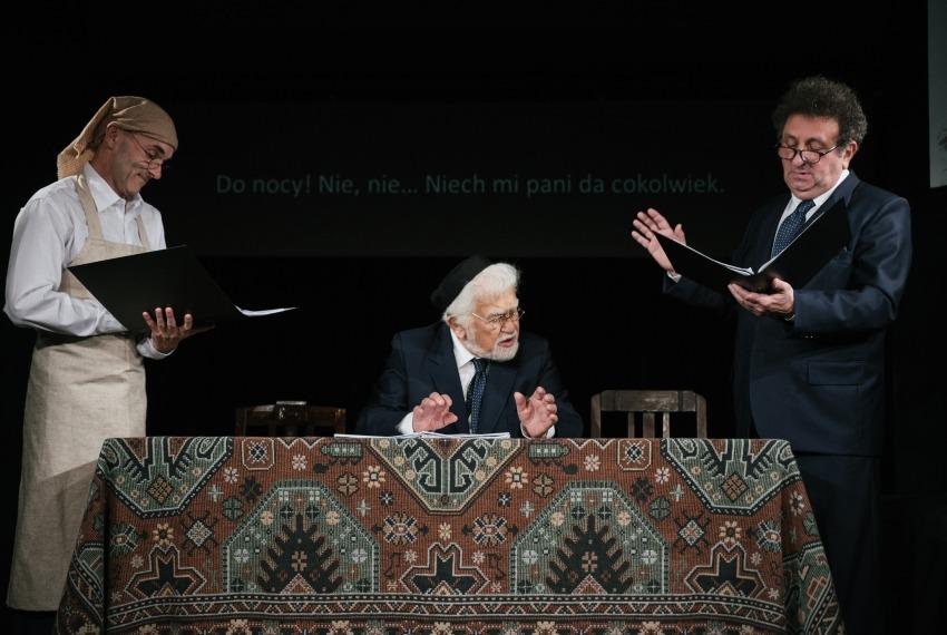 Miasteczko Kasrylewka / reż. Shmuel Atzmon-Wircer / na zdjęciu Jerzy Walczak, Shmuel Atzmon-Wircer i Henryk Rajfer